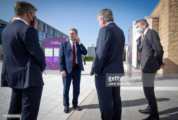 Britain's main opposition Labour Party leader Keir Starmer visits the University of Edinburgh School of Medicine in Edinburgh on September 17 where...