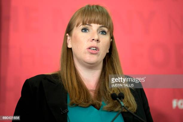 Britain's main opposition Labour party's Shaddow Education Secretary Angela Rayner attends a general election campaign press conference in London on...