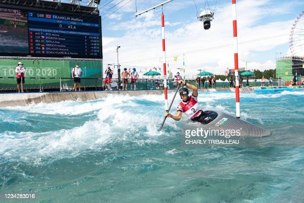 Britain's Mallory Franklin competes in the women's Canoe semi-final during the Tokyo 2020 Olympic Games at Kasai Canoe Slalom Centre in Tokyo on July...