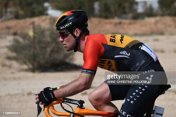Britain's Mark Cavendish of the Bahrain McLaren team rides during the first stage of the Saudi Tour, from the Saudi Arabian Olympic Committee...