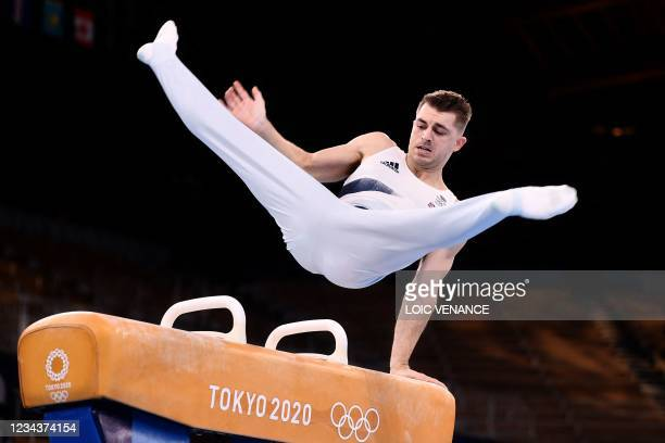Britain's Max Whitlock competes in the artistic gymnastics men's pommel horse final of the Tokyo 2020 Olympic Games at the Ariake Gymnastics Centre...