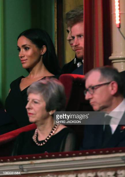 Britain's Meghan Duchess of Sussex and Britain's Prince Harry Duke of Sussex attend the annual Royal British Legion Festival of Remembrance at the...