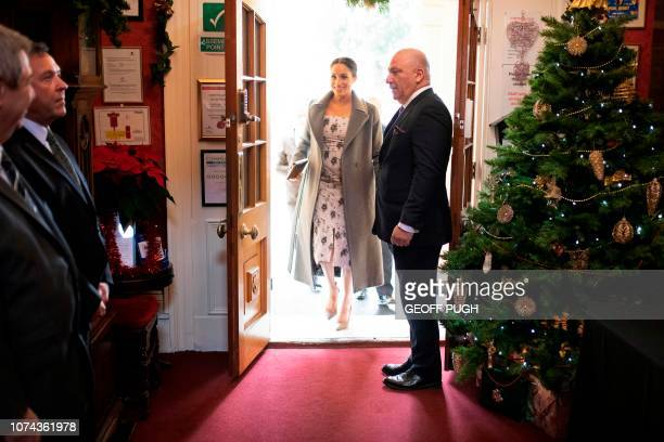 Britain's Meghan Duchess of Sussex arrives to visit the Royal Variety Charity's residential nursing and care home Brinsworth House in Twickenham...