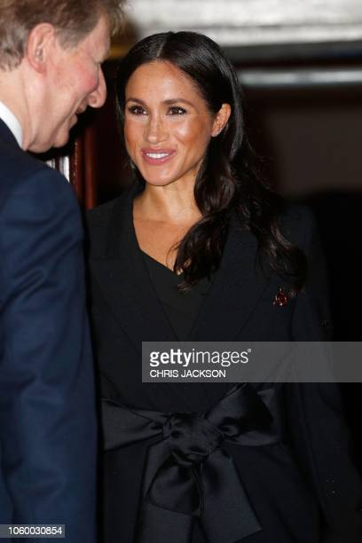 Britain's Meghan Duchess of Sussex attends the annual Royal British Legion Festival of Remembrance at the Royal Albert Hall in London on November 10...