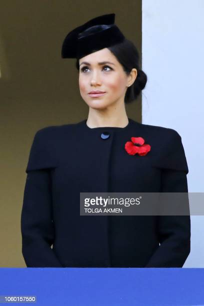 Britain's Meghan Duchess of Sussex attends the Remembrance Sunday ceremony at the Cenotaph on Whitehall in central London on November 11 2018 On the...