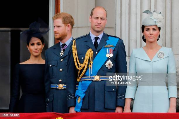 Britain's Meghan, Duchess of Sussex, Britain's Prince Harry, Duke of Sussex, Britain's Prince William, Duke of Cambridge and Britain's Catherine,...