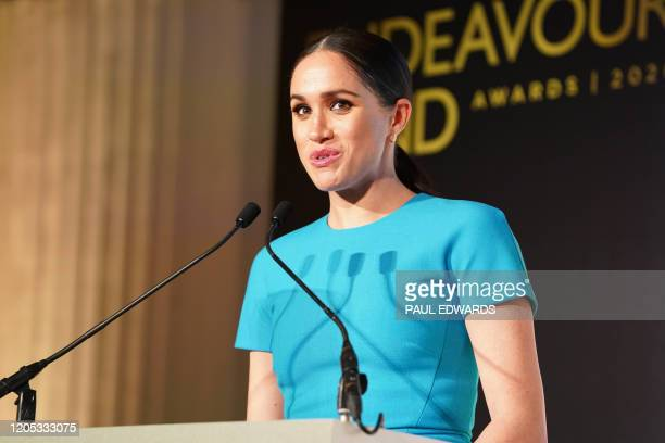 Britain's Meghan, Duchess of Sussex delivers a speech during the Endeavour Fund Awards at Mansion House in London on March 5, 2020. - The Endeavour...