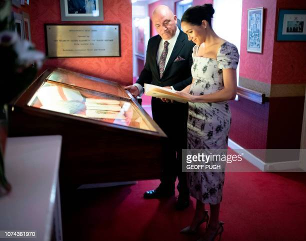 Britain's Meghan Duchess of Sussex visits the Royal Variety Charity's residential nursing and care home Brinsworth House in Twickenham south west...