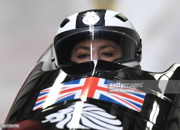 Britain's Mica Mcneill competes in the women's bobsleigh heat 1 run during the Pyeongchang 2018 Winter Olympic Games at the Olympic Sliding Centre on...