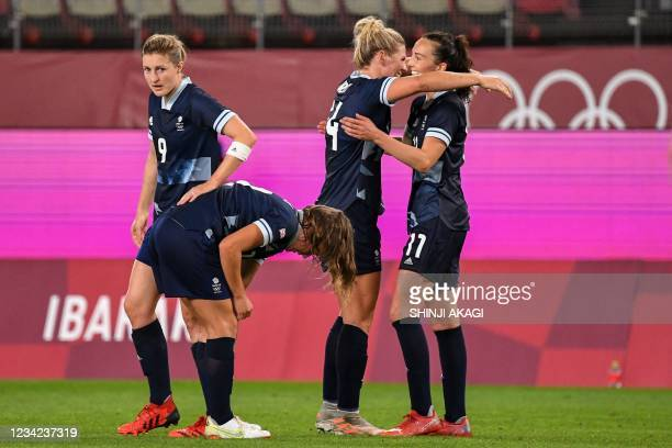 Britain's midfielder Caroline Weir celebrates after scoring the team's first goal during the Tokyo 2020 Olympic Games women's group E first round...