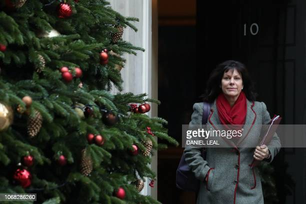 Britain's Minister of State at the Department for Business Energy and Industrial Strategy Claire Perry leaves after attending the weekly meeting of...