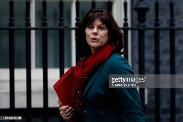Britain's Minister of State at the Department for Business Energy and Industrial Strategy Claire Perry arrives in Downing street London for a cabinet...