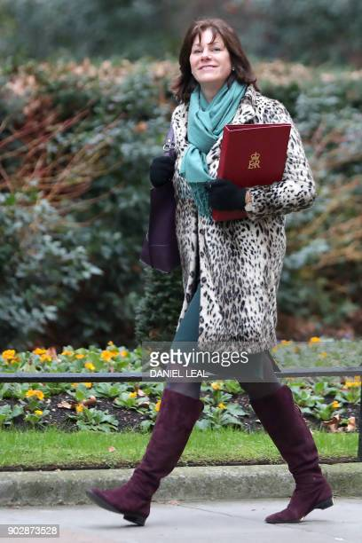 Britain's Minister of State at the Department for Business Energy and Industrial Strategy Claire Perry arrives at 10 Downing street in central London...