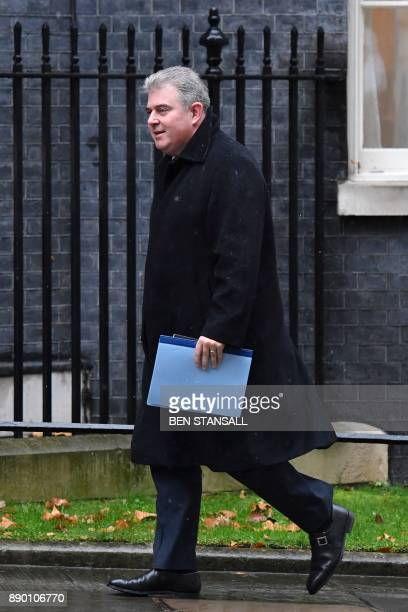 Britain's Minister of State for Immigration Brandon Lewis arrives at 10 Downing Street for the weekly meeting of the cabinet in central London on...