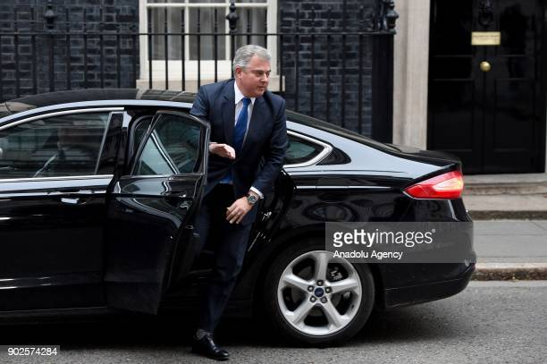 Britain's Minister of State for Immigration Brandon Lewis arrives at 10 Downing street as Prime Minister Theresa May reshuffles her cabinet in London...