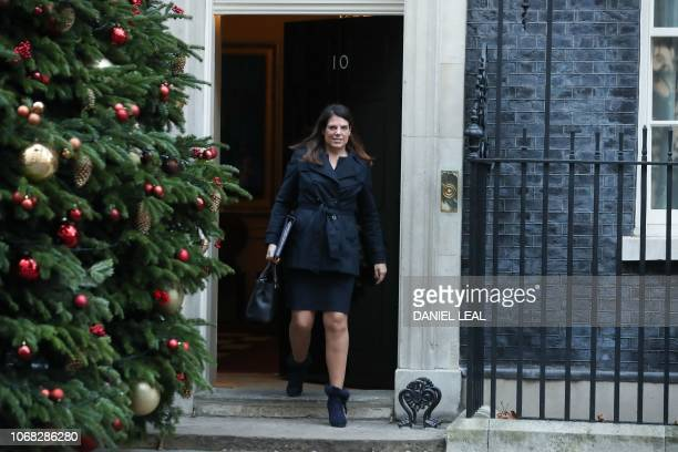 Britain's Minister of State for Immigration Caroline Nokes leaves after attending the weekly meeting of the cabinet at 10 Downing Street in London on...