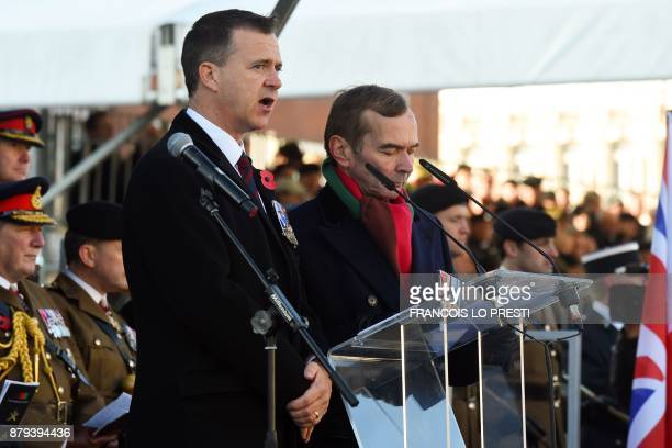 Britain's Minister of State for the Armed Forces Mark Lancaster delivers a speech during a commemoration ceremony for the centenary of the Battle of...