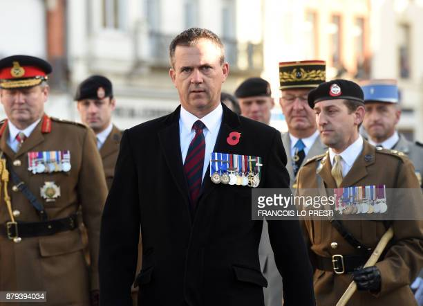 Britain's Minister of State for the Armed Forces Mark Lancaster and French General Thierry Coqueblin attend a commemoration for the centenary of the...