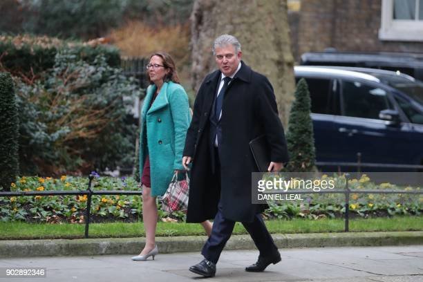 Britain's Minister without Portfolio and chairman of the Conservative Party Brandon Lewis arrives 10 Downing street in central London for the first...
