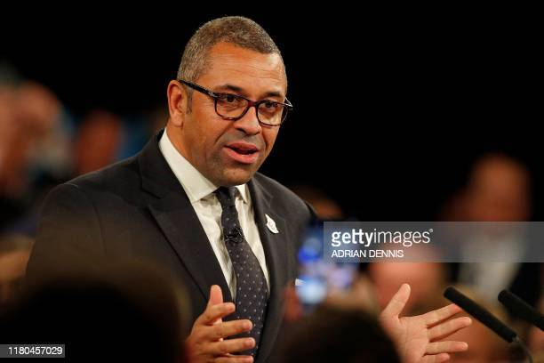 Britain's Minister without Portfolio and Conservative Party Chairman James Cleverly speaks at the Conservative Party's General Election campaign...