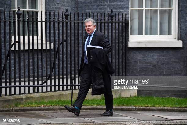 Britain's Minister without Portfolio and Conservative Party Chairman Brandon Lewis arrives at Downing Street in central London on March 20 2018 for...
