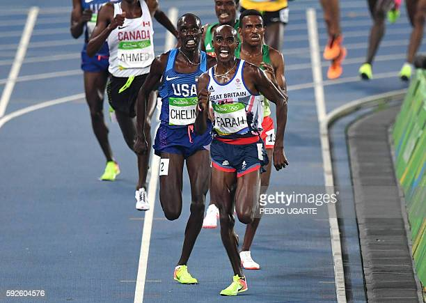 Britain's Mo Farah and USA's Paul Chelimo compete in the Men's 5000m Final during the athletics event at the Rio 2016 Olympic Games at the Olympic...