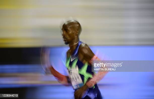 Britain's Mo Farah competes during the men's one hour event at The Diamond League AG Memorial Van Damme athletics meeting at The King Baudouin...
