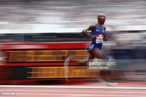Britain's Mo Farah competes in the men's 5000 metres during the IAAF Diamond League Anniversary Games athletics meeting at the Queen Elizabeth...