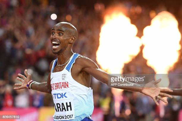 TOPSHOT Britain's Mo Farah wins the final of the men's 10000m athletics event at the 2017 IAAF World Championships at the London Stadium in London on...