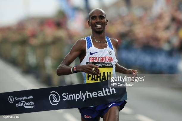 Britain's Mo Farah wins the men's elite race of the Great North Run halfmarathon in South Shields north east England on September 10 2017 The Great...