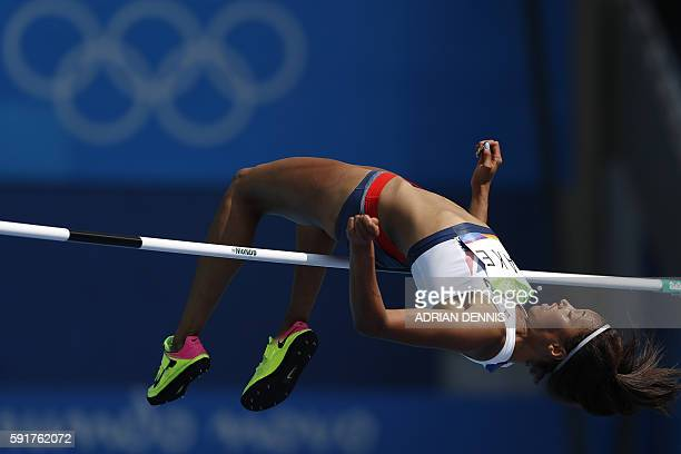 Britain's Morgan Lake competes in the Women's High Jump Qualifying Round during the athletics event at the Rio 2016 Olympic Games at the Olympic...