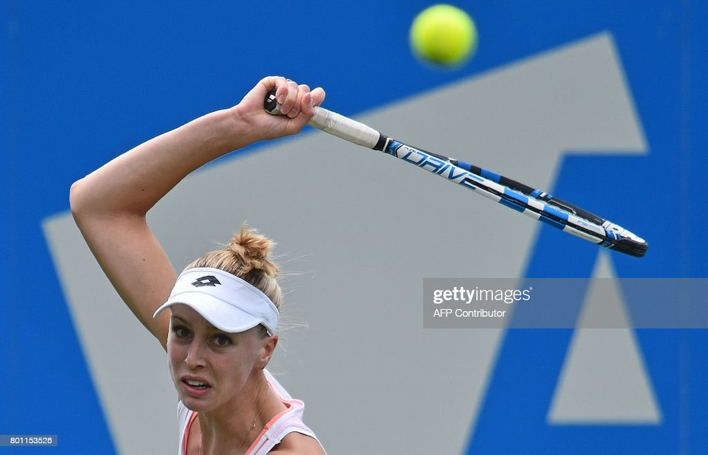 Britain's Naomi Broady returns to Czech Republic's Kristyna Pliskova during their women's singles first round tennis match at the ATP Aegon International tennis tournament in Eastbourne, southern England, on June 26, 2017. /