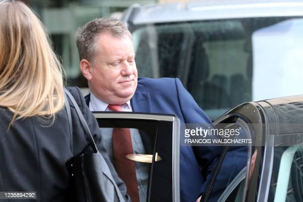 Britain's negotiator David Frost leaves after post-Brexit trade disputes negotiations in Brussels, on October 15, 2021.