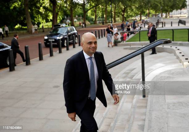 Britain's new Chancellor of the Exchequer Sajid Javid arrives at the treasury on July 24 2019 in London England Boris Johnson took the office of...
