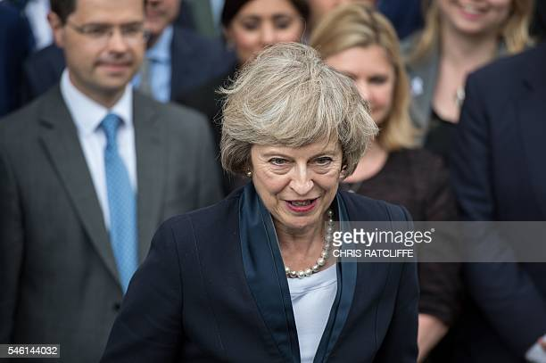 Britain's new Conservative Party leader Theresa May speaks to members of the media at The St Stephen's entrance to the Palace of Westminster in...