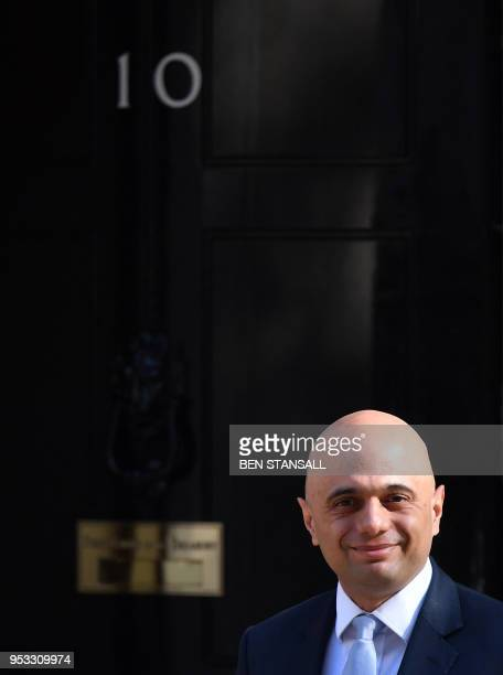 Britain's new Home Secretary Sajid Javid arrives to attend the weekly meeting of the cabinet at Downing Street in central London on May 1 2018