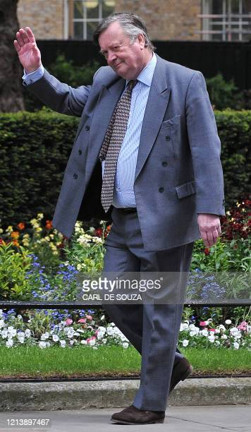 Britain's new Justice Secretary Ken Clarke waves as he arrives in Downing Street in central London on May 12 2010 New British Prime Minister David...