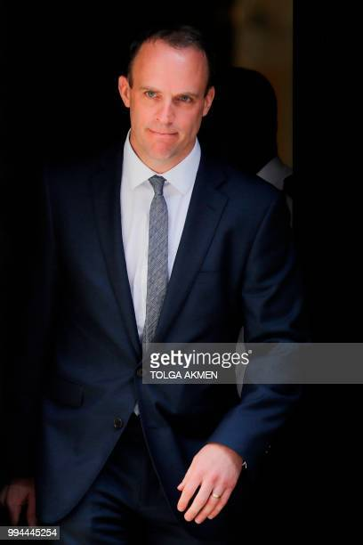 Britain's new Secretary of State for Exiting the European Union Dominic Raab leaves 10 Downing Street in central London on July 9 2018 following his...