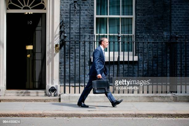 TOPSHOT Britain's new Secretary of State for Exiting the European Union Dominic Raab leaves 10 Downing Street in central London on July 9 2018...