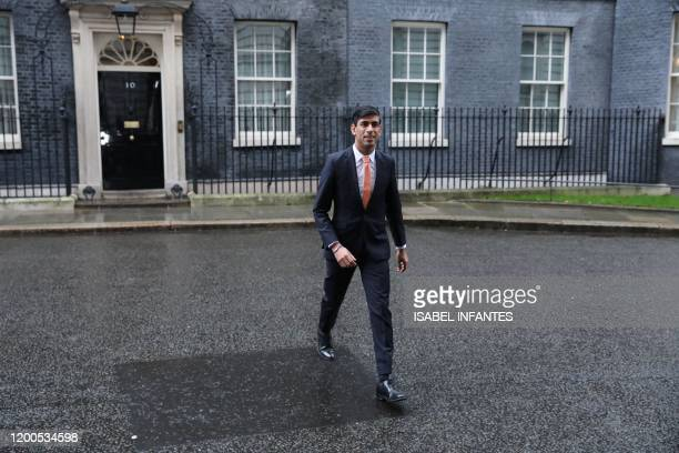 Britain's newly appointed Chancellor of the Exchequer Rishi Sunak leaves 10 Downing Street in central London on February 13 2020 after recieving his...