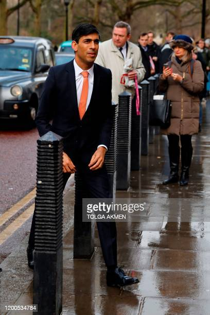 Britain's newly appointed Chancellor of the Exchequer Rishi Sunak arrives at the Treasury in central London on February 13 2020 after recieving his...
