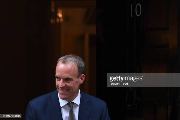 Britain's newly appointed Deputy Prime Minister and Justice Secretary Dominic Raab leaves from 10 Downing Street in central London on September 15,...