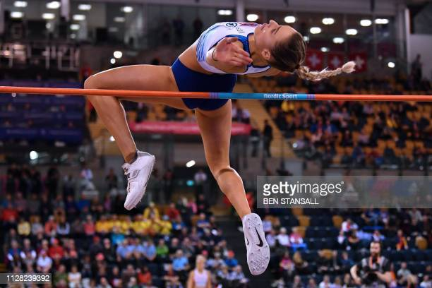 Britain's Niamh Emerson competes in the womens high jump pentathlon event at the 2019 European Athletics Indoor Championships in Glasgow on March 1...