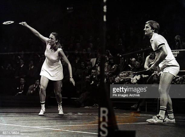 Britain's Nora Perry and Mike Tredgett in action They lost to their British rivals