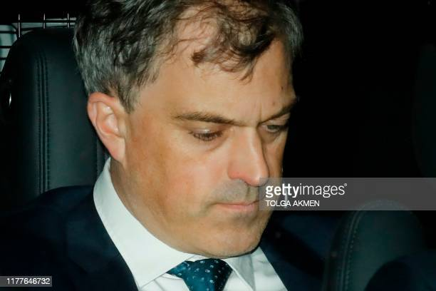 Britain's Northern Ireland Secretary Julian Smith leaves the Houses of Parliament in London on October 22 2019 after debate and votes on the...