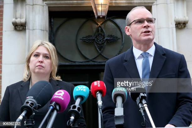 Britain's Northern Ireland Secretary Karen Bradley and Ireland's Foreign Minister Simon Coveney attend a joint press conference at Stormont House in...