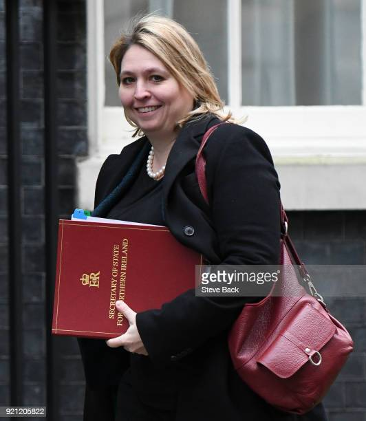 Britain's Northern Ireland Secretary Karen Bradley arrives at 10 Downing street for the weekly cabinet meeting on February 20 2018 in London United...
