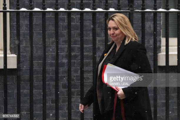 Britain's Northern Ireland Secretary Karen Bradley arrives at 10 Downing street for a special cabinet meeting on March 1 2018 in London / AFP PHOTO /...