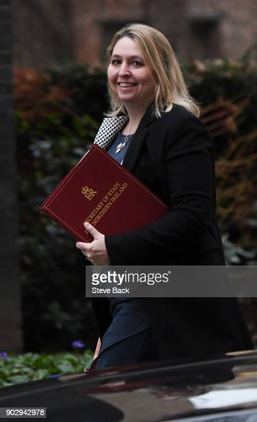 Britain's Northern Ireland Secretary Karen Bradley arrives at 10 Downing street in central London for the first cabinet meeting of the new year...