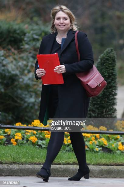Britain's Northern Ireland Secretary Karen Bradley arrives at 10 Downing Street in central London on March 13 2018 to attend the weekly meeting of...